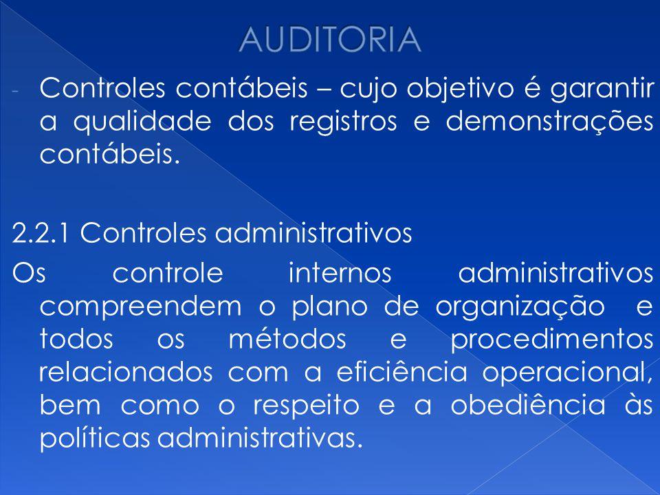 AUDITORIA Controles contábeis – cujo objetivo é garantir a qualidade dos registros e demonstrações contábeis.