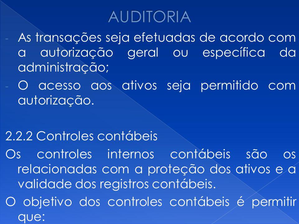 AUDITORIA As transações seja efetuadas de acordo com a autorização geral ou específica da administração;