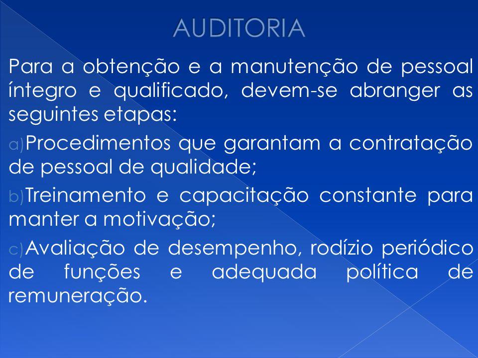 AUDITORIA Para a obtenção e a manutenção de pessoal íntegro e qualificado, devem-se abranger as seguintes etapas: