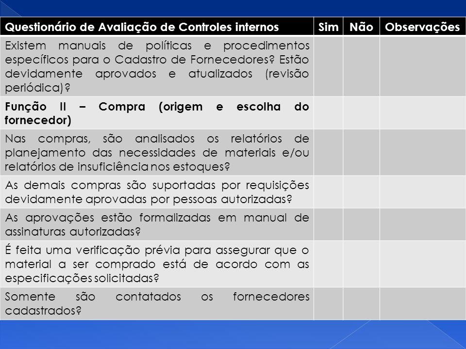Questionário de Avaliação de Controles internos