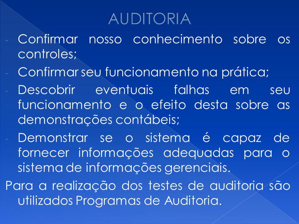 AUDITORIA Confirmar nosso conhecimento sobre os controles;