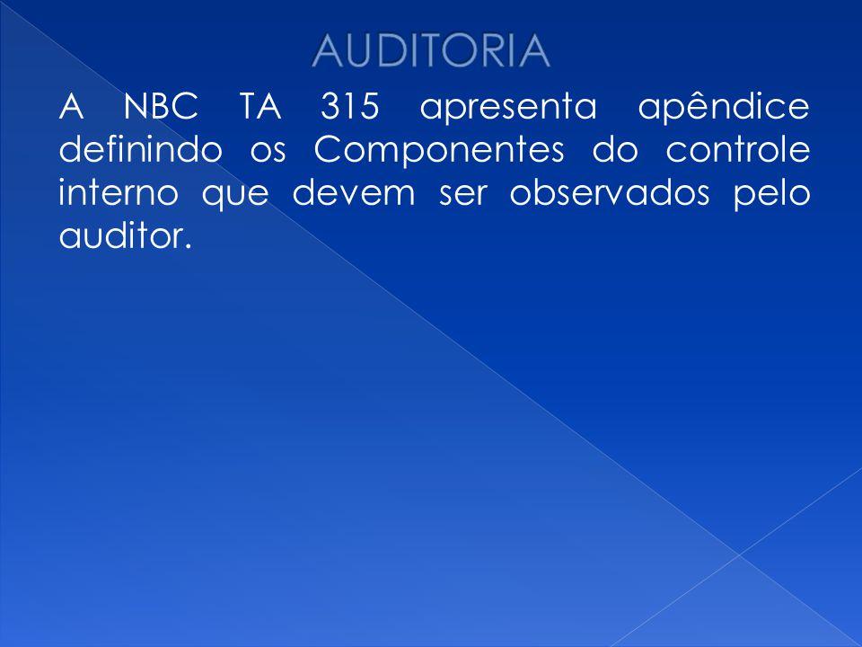 AUDITORIA A NBC TA 315 apresenta apêndice definindo os Componentes do controle interno que devem ser observados pelo auditor.