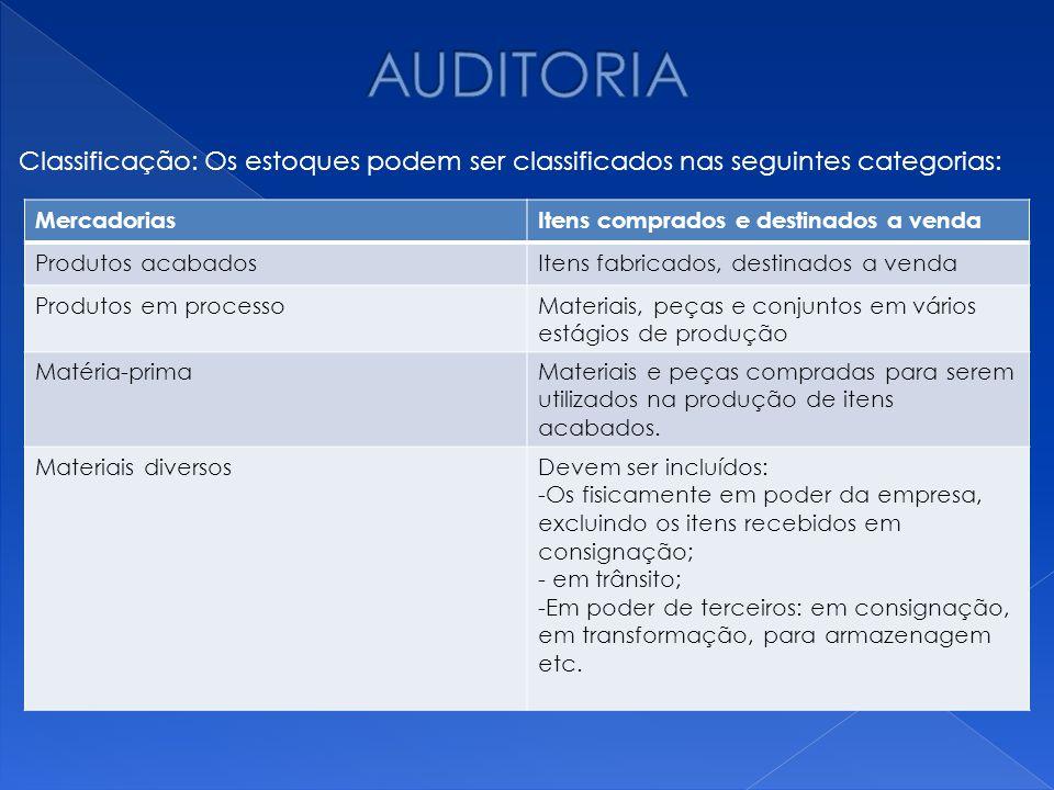 AUDITORIA Classificação: Os estoques podem ser classificados nas seguintes categorias: Mercadorias.
