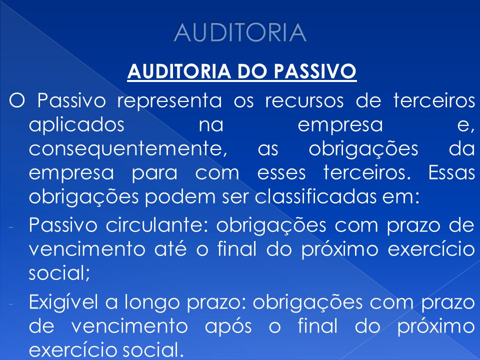 AUDITORIA AUDITORIA DO PASSIVO