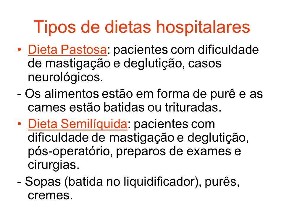 Tipos de dietas hospitalares