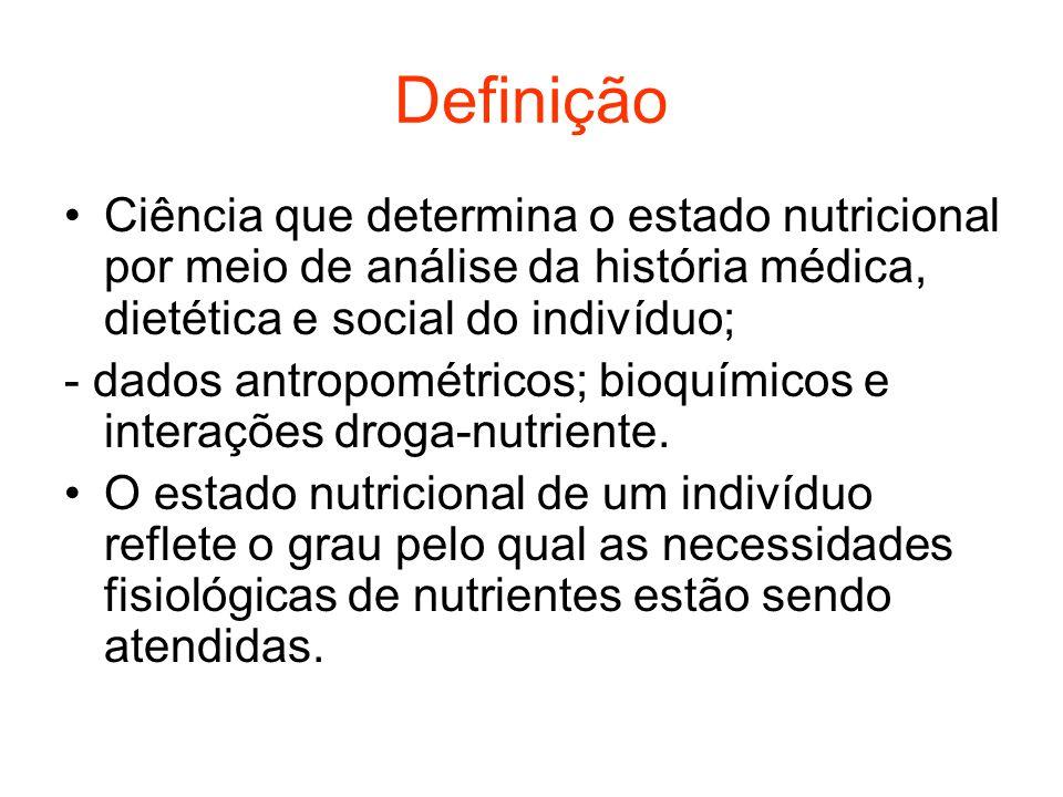 Definição Ciência que determina o estado nutricional por meio de análise da história médica, dietética e social do indivíduo;
