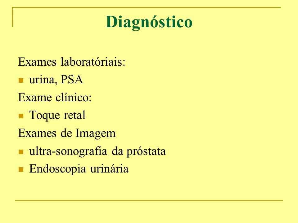 Diagnóstico Exames laboratóriais: urina, PSA Exame clínico: