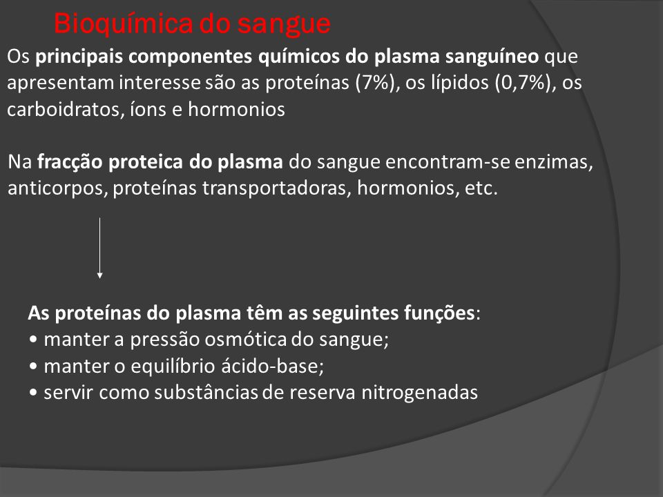 Bioquímica do sangue