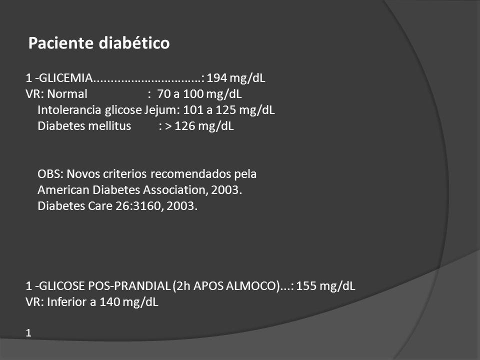 Intolerancia glicose Jejum: 101 a 125 mg/dL
