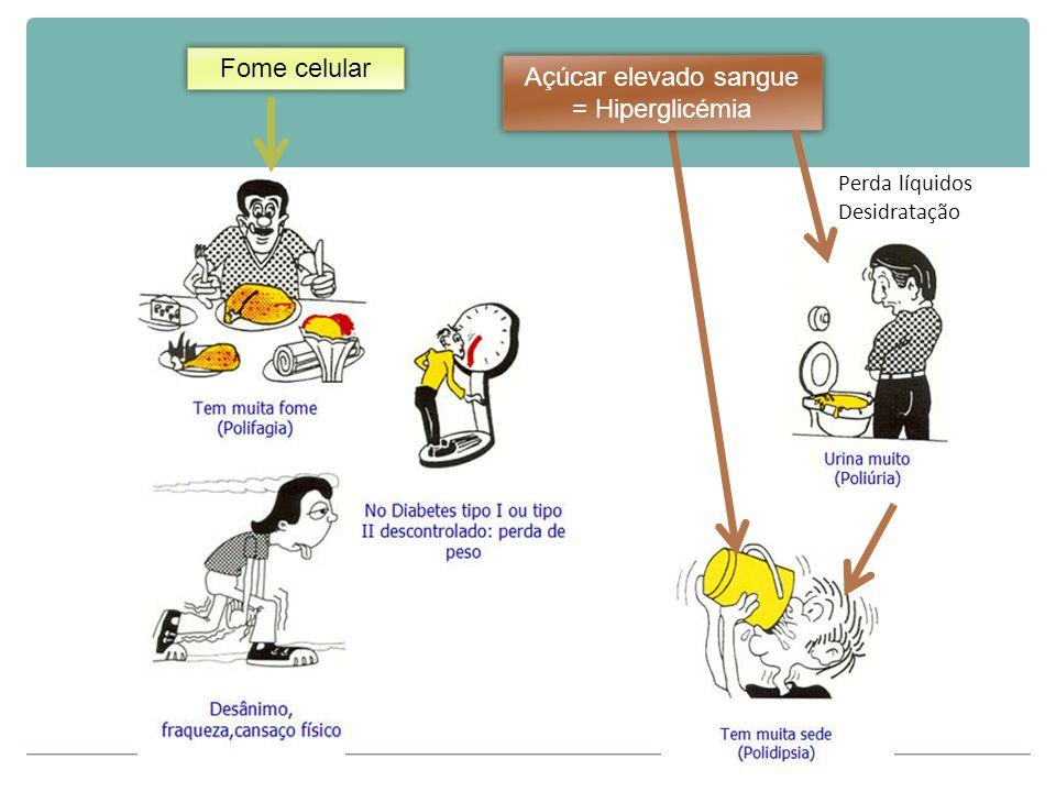 Fome celular Açúcar elevado sangue = Hiperglicémia Perda líquidos