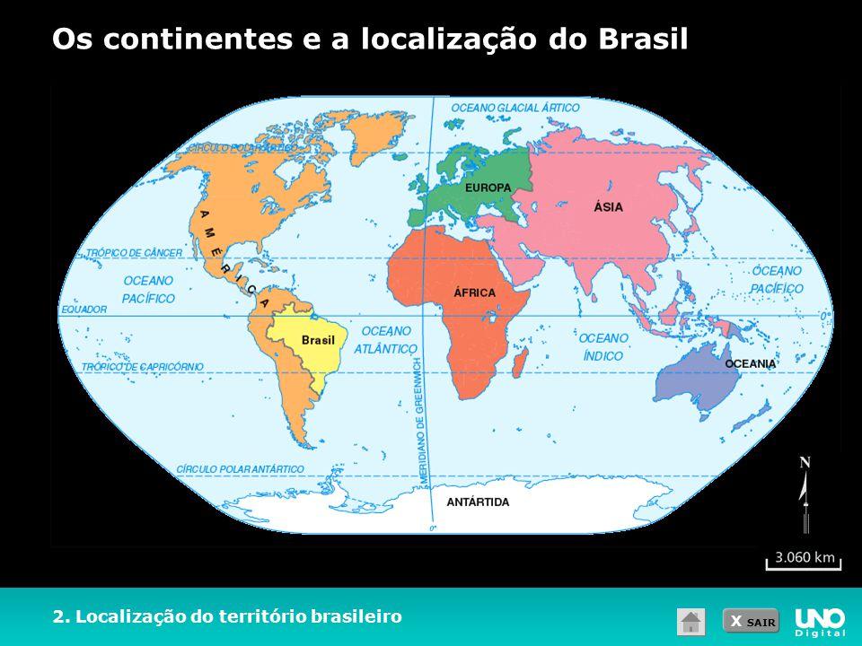 Os continentes e a localização do Brasil