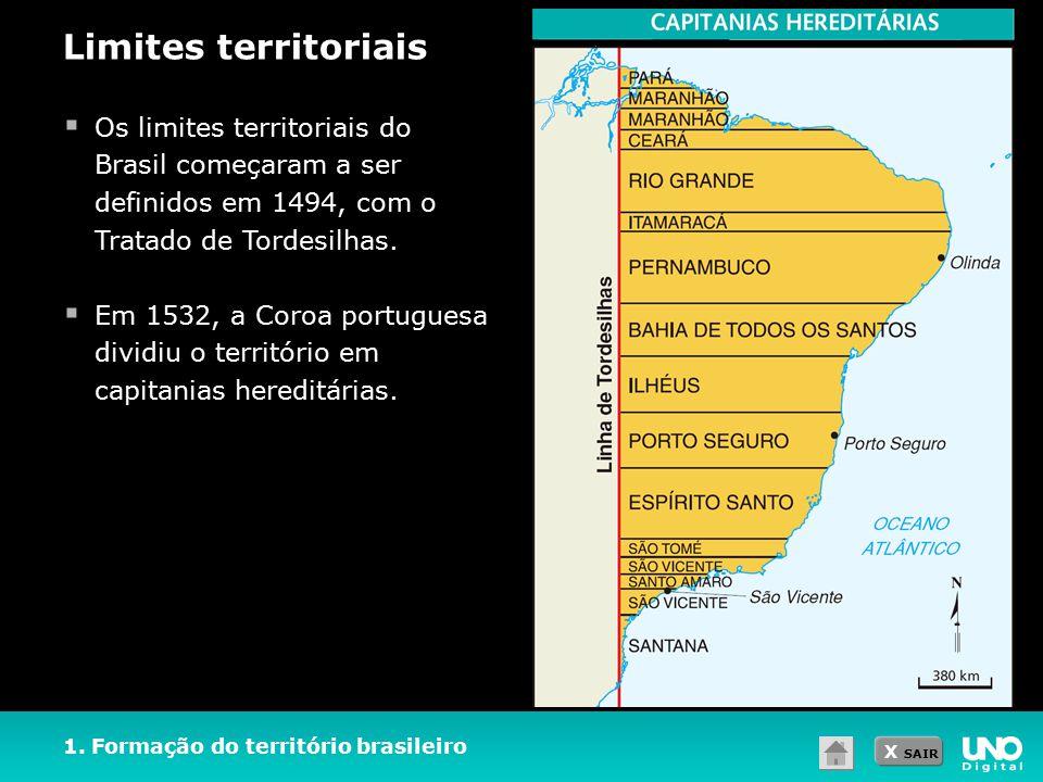 Limites territoriais Os limites territoriais do Brasil começaram a ser definidos em 1494, com o Tratado de Tordesilhas.