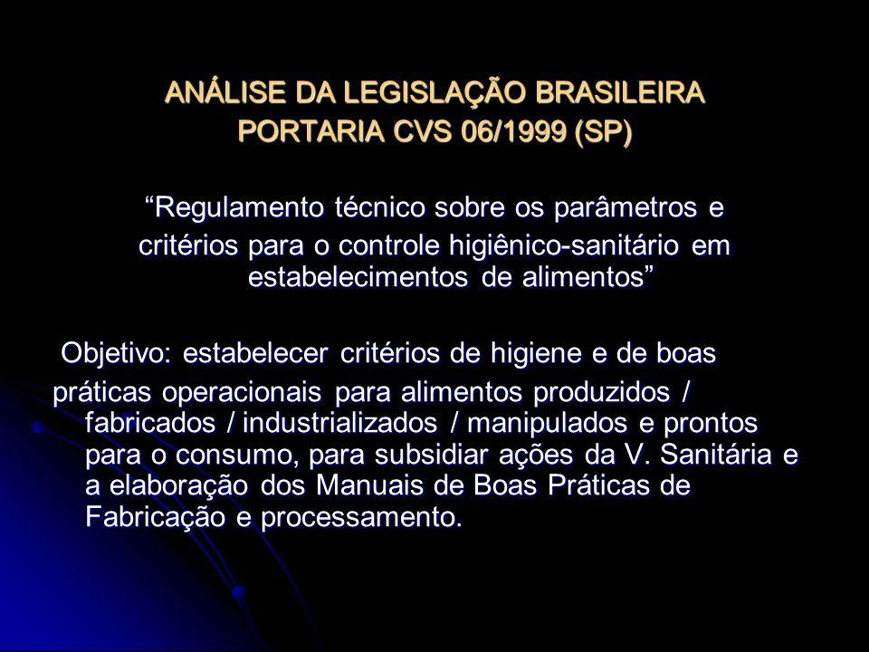 ANÁLISE DA LEGISLAÇÃO BRASILEIRA PORTARIA CVS 06/1999 (SP)