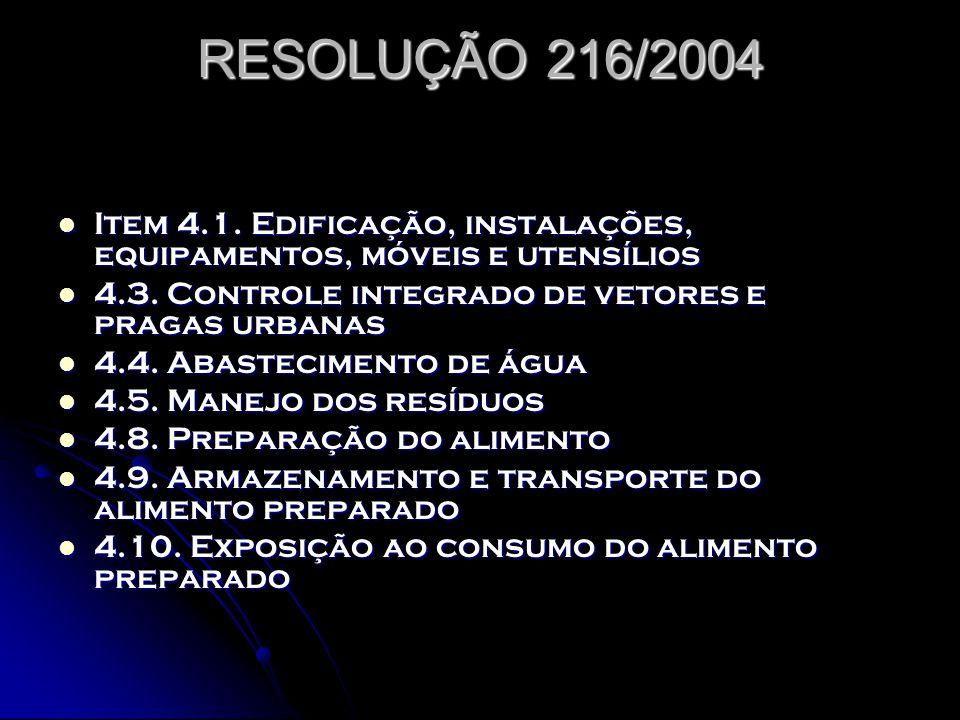 RESOLUÇÃO 216/2004 Item 4.1. Edificação, instalações, equipamentos, móveis e utensílios. 4.3. Controle integrado de vetores e pragas urbanas.