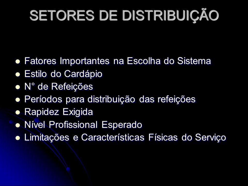 SETORES DE DISTRIBUIÇÃO