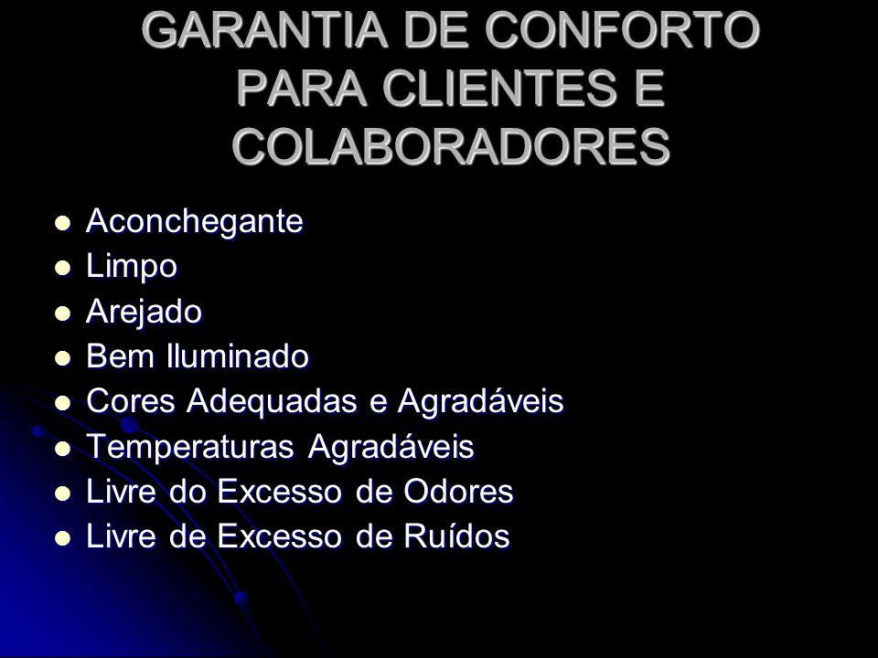 GARANTIA DE CONFORTO PARA CLIENTES E COLABORADORES