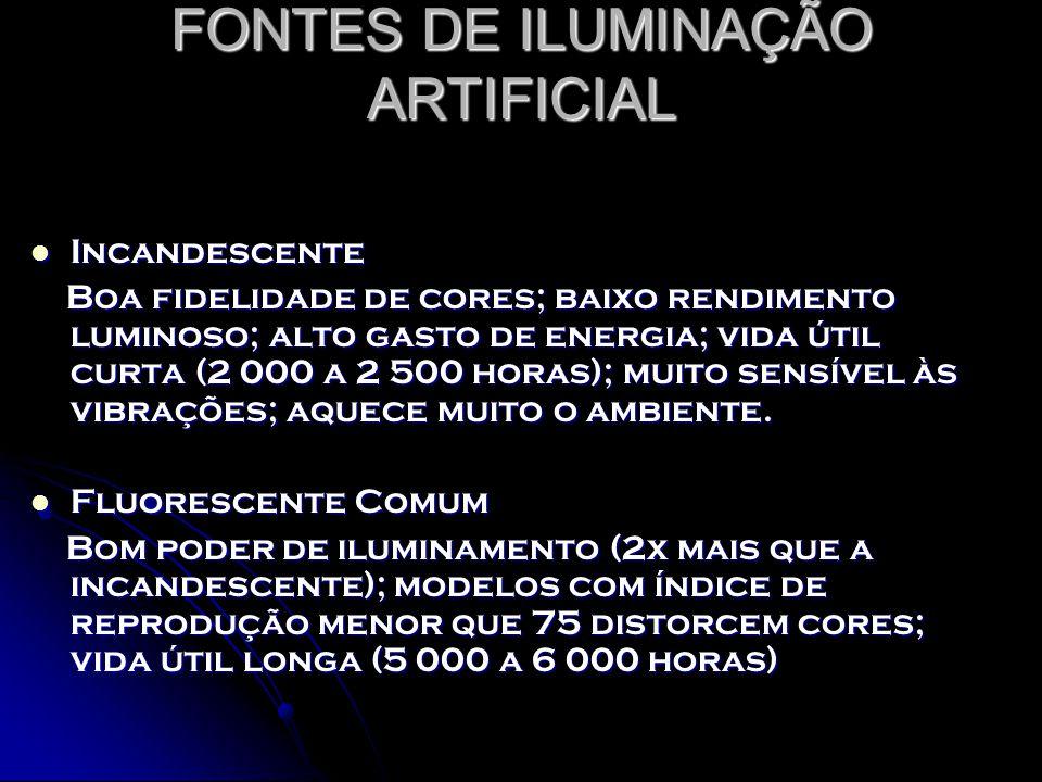 FONTES DE ILUMINAÇÃO ARTIFICIAL