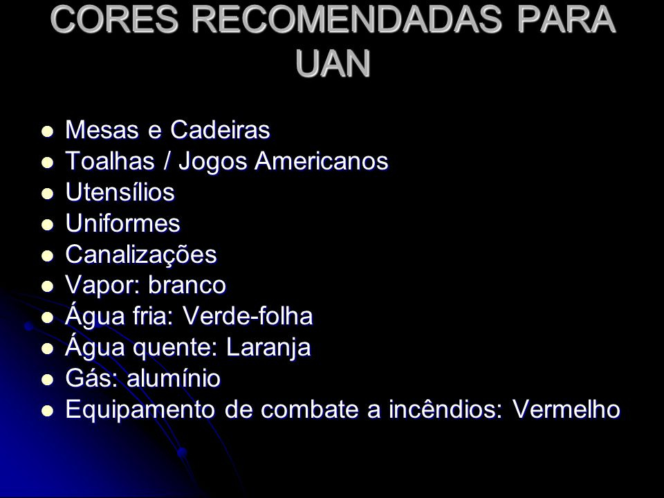 CORES RECOMENDADAS PARA UAN