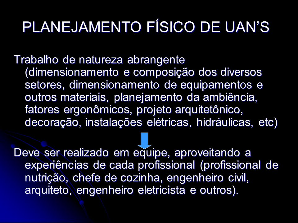 PLANEJAMENTO FÍSICO DE UAN'S