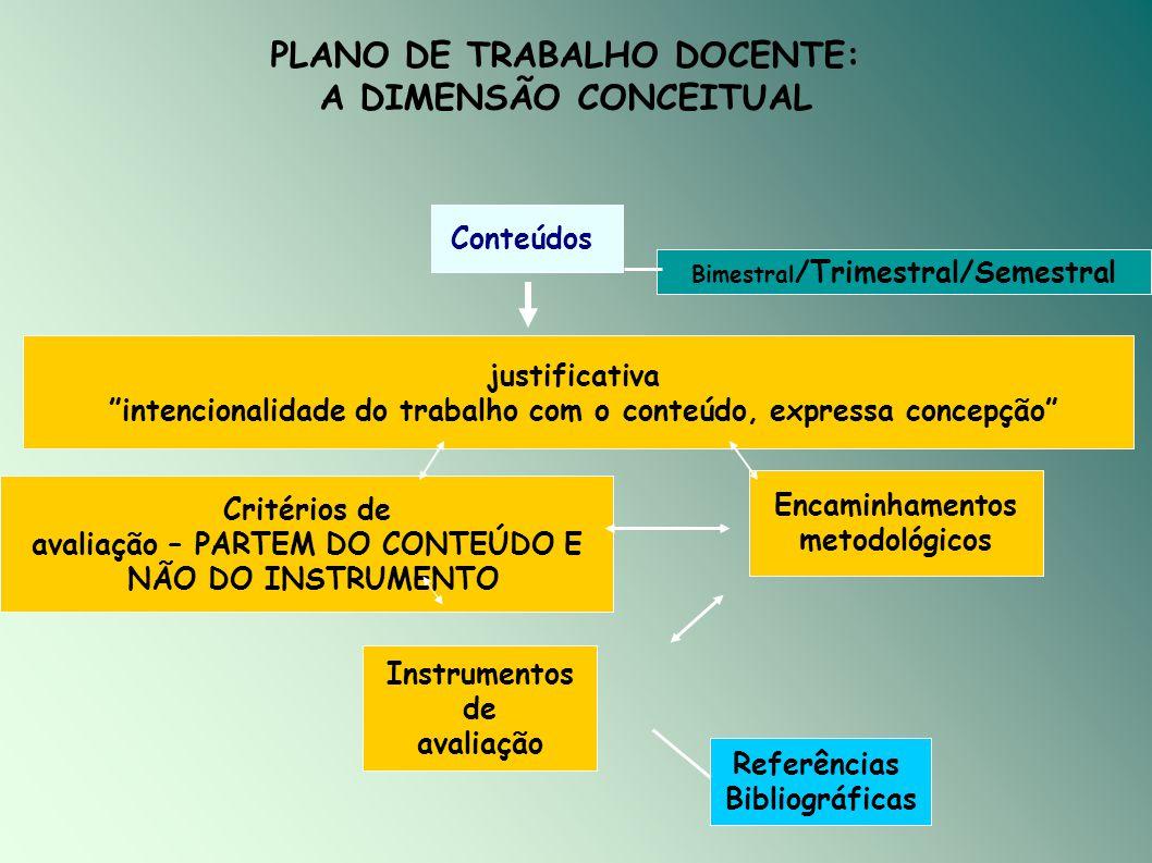 PLANO DE TRABALHO DOCENTE: A DIMENSÃO CONCEITUAL