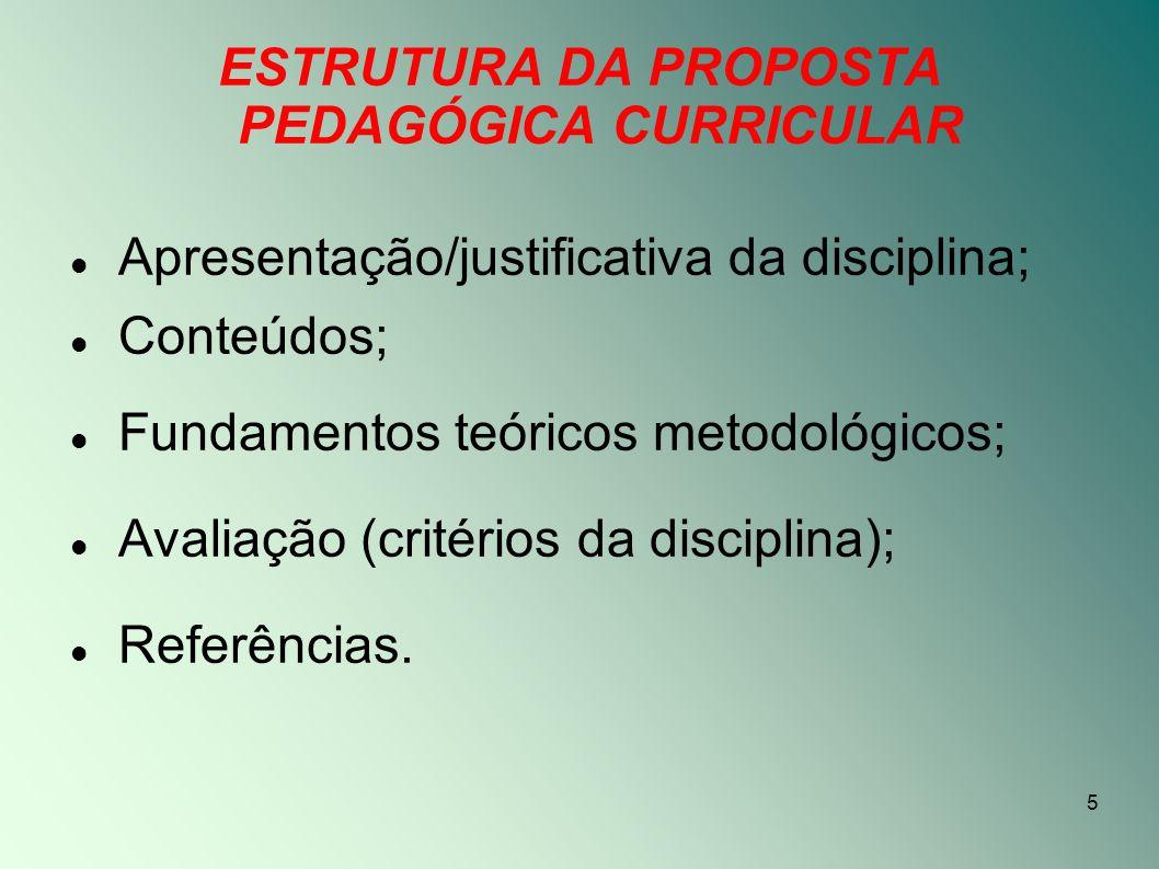 ESTRUTURA DA PROPOSTA PEDAGÓGICA CURRICULAR