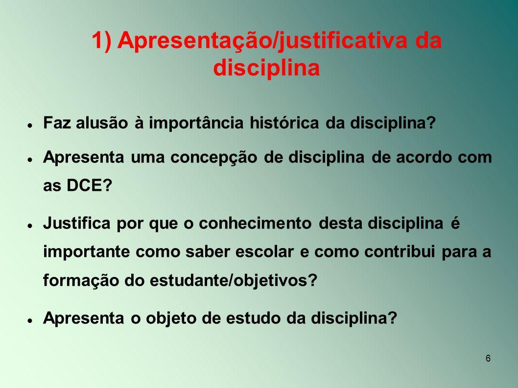 1) Apresentação/justificativa da disciplina