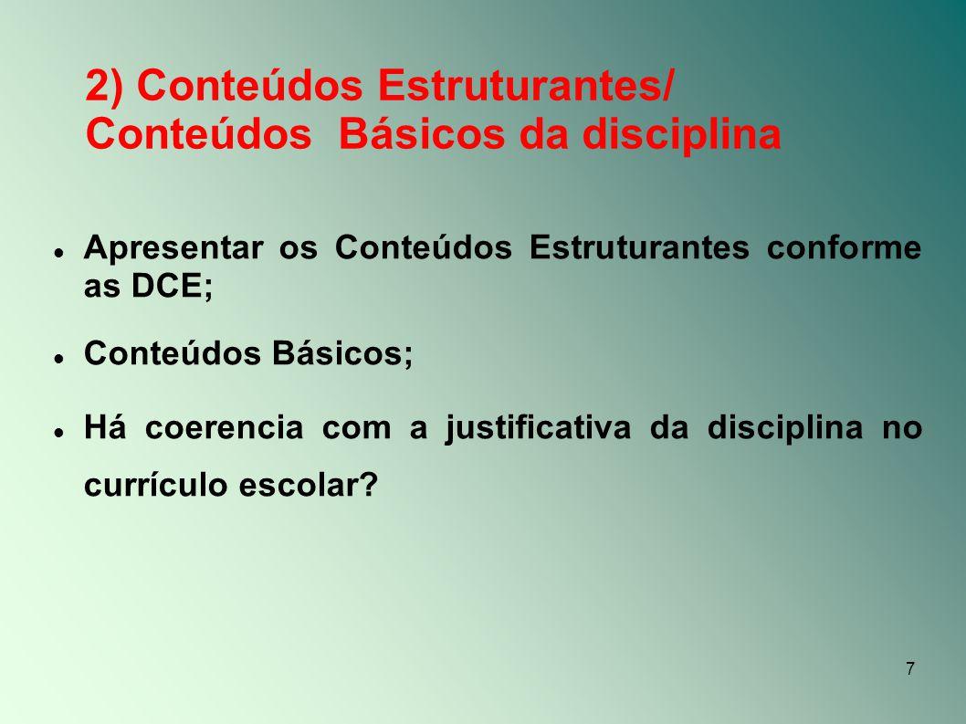 2) Conteúdos Estruturantes/ Conteúdos Básicos da disciplina