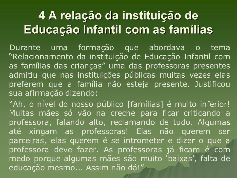 4 A relação da instituição de Educação Infantil com as famílias