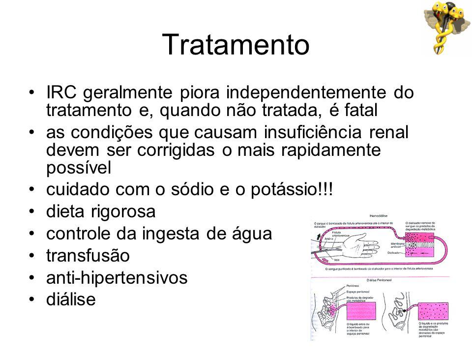 Tratamento IRC geralmente piora independentemente do tratamento e, quando não tratada, é fatal.