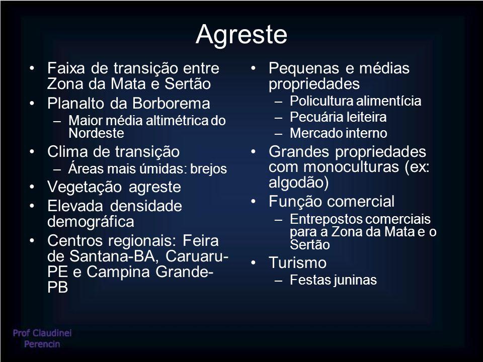 Agreste Faixa de transição entre Zona da Mata e Sertão