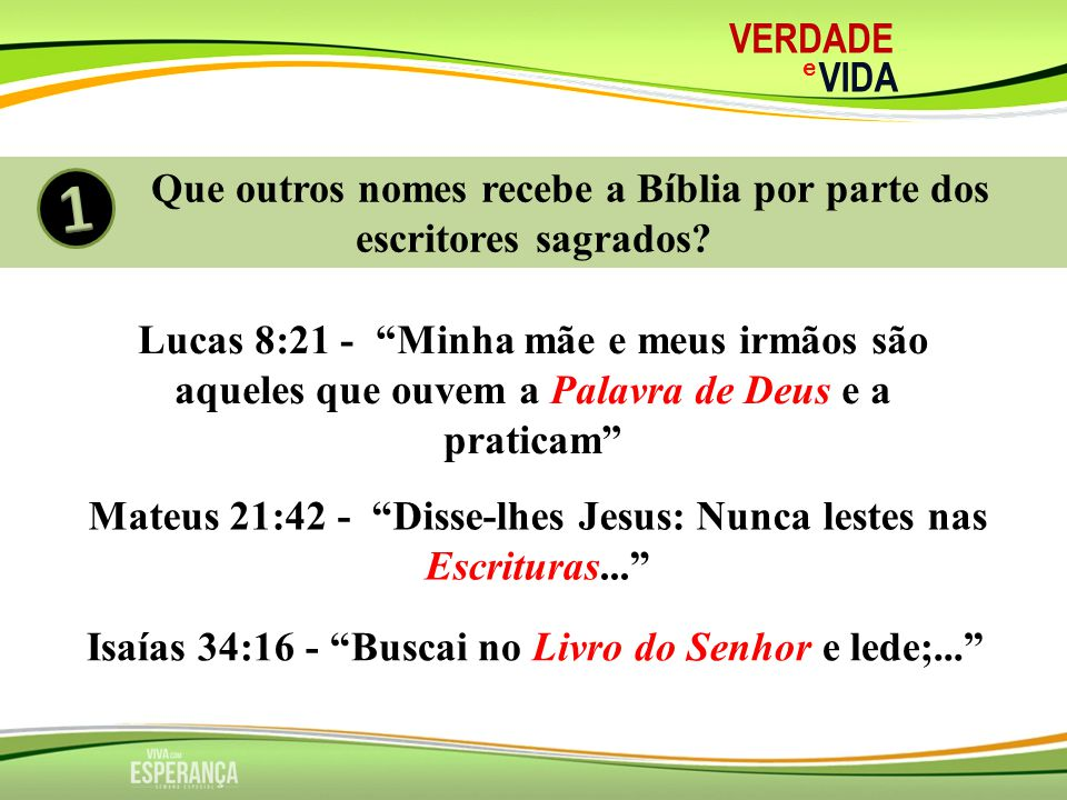 VERDADE e. VIDA. Que outros nomes recebe a Bíblia por parte dos escritores sagrados 1.