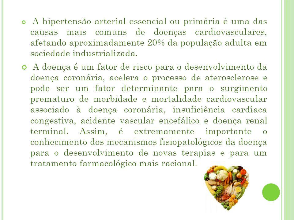 A hipertensão arterial essencial ou primária é uma das causas mais comuns de doenças cardiovasculares, afetando aproximadamente 20% da população adulta em sociedade industrializada.