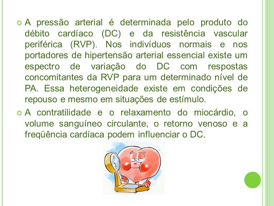 A pressão arterial é determinada pelo produto do débito cardíaco (DC) e da resistência vascular periférica (RVP). Nos indivíduos normais e nos portadores de hipertensão arterial essencial existe um espectro de variação do DC com respostas concomitantes da RVP para um determinado nível de PA. Essa heterogeneidade existe em condições de repouso e mesmo em situações de estímulo.