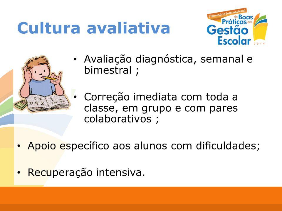 Cultura avaliativa Avaliação diagnóstica, semanal e bimestral ;