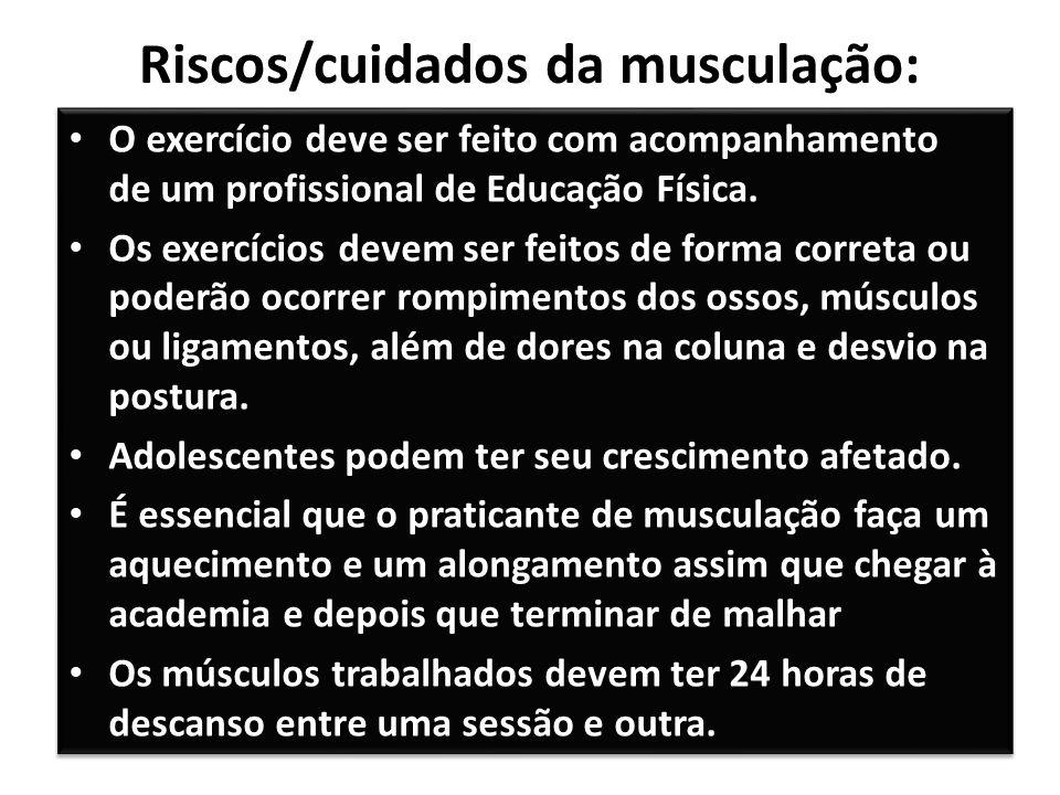 Riscos/cuidados da musculação: