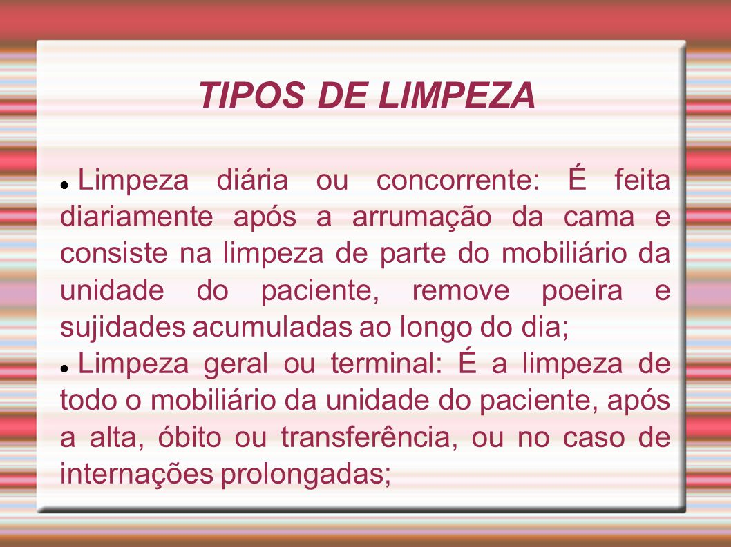 TIPOS DE LIMPEZA