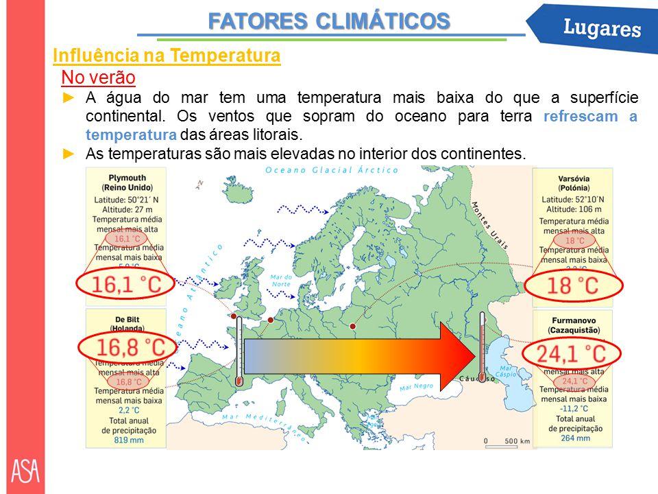 FATORES CLIMÁTICOS Influência na Temperatura No verão