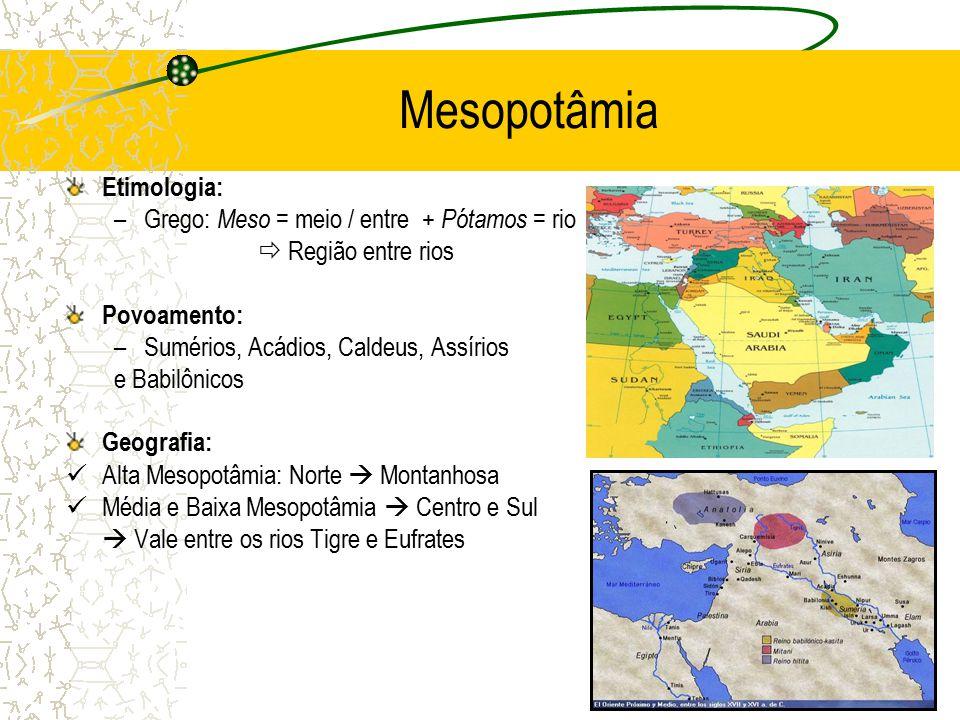 Mesopotâmia Etimologia: Grego: Meso = meio / entre + Pótamos = rio