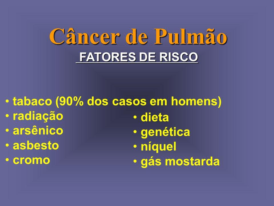 Câncer de Pulmão FATORES DE RISCO tabaco (90% dos casos em homens)
