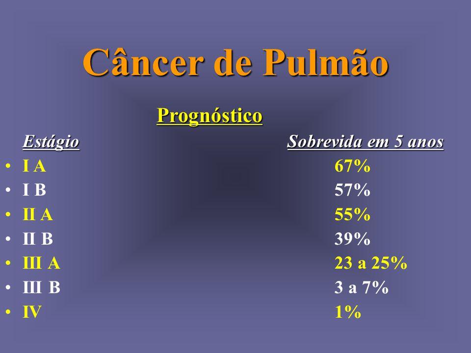 Câncer de Pulmão Prognóstico Estágio Sobrevida em 5 anos I A 67%