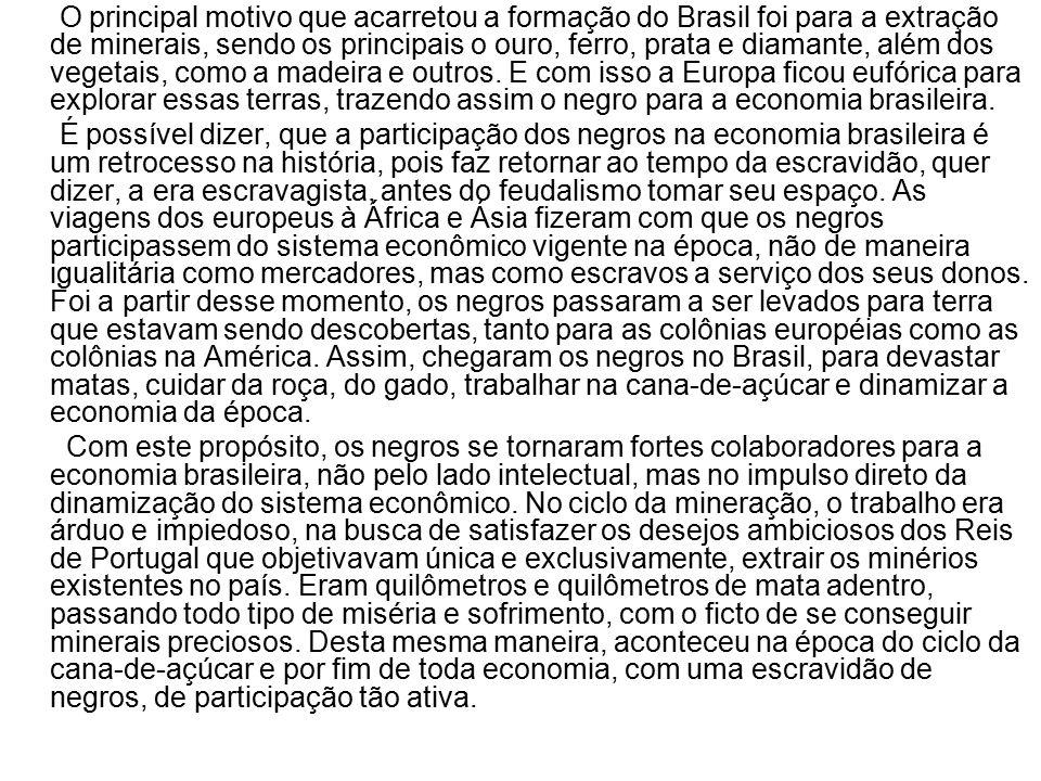 O principal motivo que acarretou a formação do Brasil foi para a extração de minerais, sendo os principais o ouro, ferro, prata e diamante, além dos vegetais, como a madeira e outros. E com isso a Europa ficou eufórica para explorar essas terras, trazendo assim o negro para a economia brasileira.