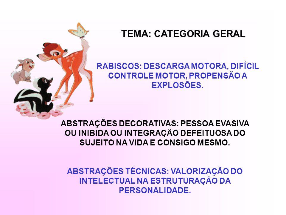 TEMA: CATEGORIA GERAL RABISCOS: DESCARGA MOTORA, DIFÍCIL CONTROLE MOTOR, PROPENSÃO A EXPLOSÕES.