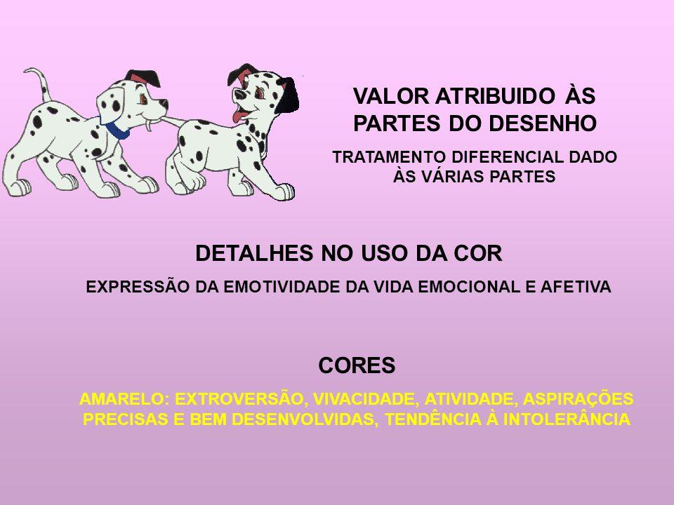VALOR ATRIBUIDO ÀS PARTES DO DESENHO DETALHES NO USO DA COR CORES