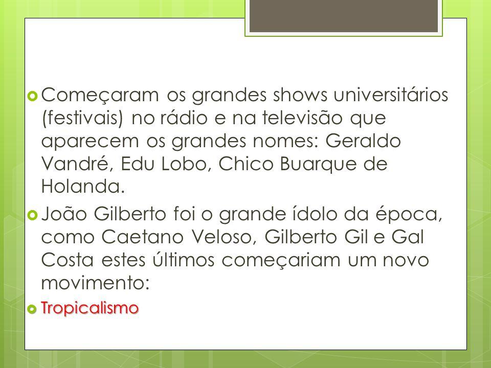 Começaram os grandes shows universitários (festivais) no rádio e na televisão que aparecem os grandes nomes: Geraldo Vandré, Edu Lobo, Chico Buarque de Holanda.