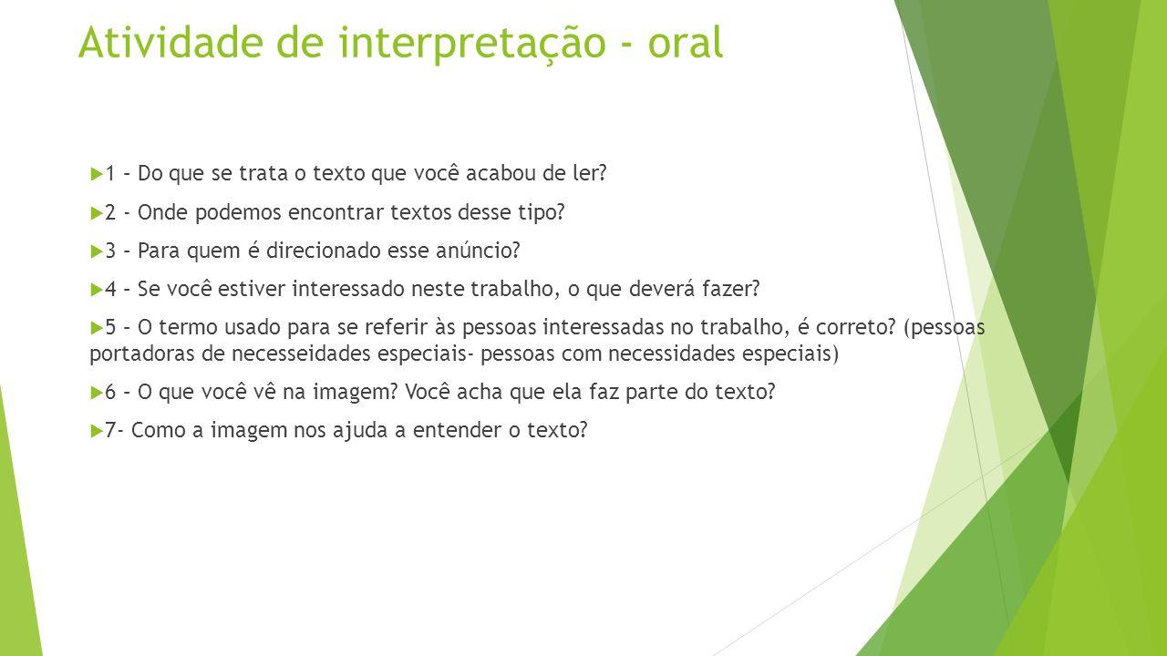 Atividade de interpretação - oral