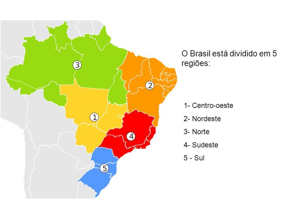 O Brasil está dividido em 5 regiões: