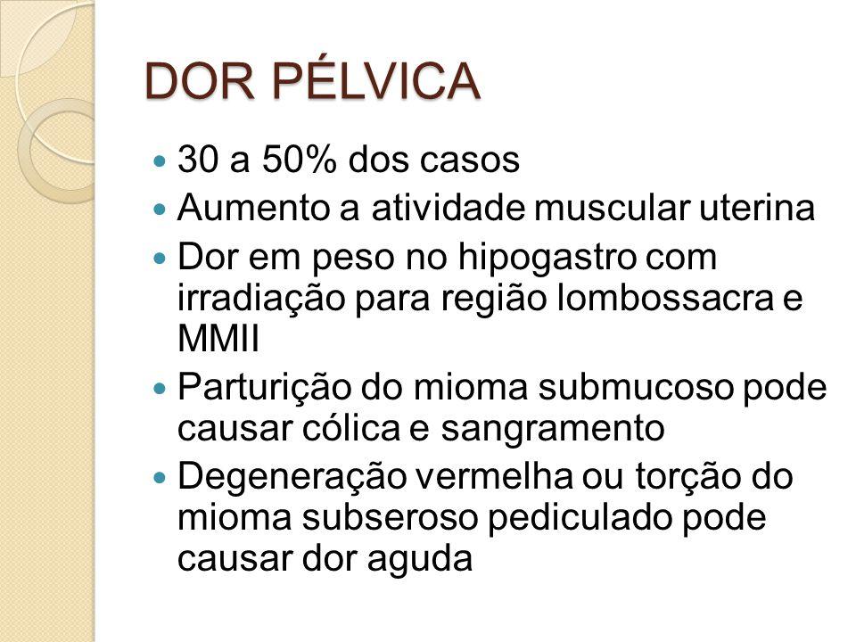 DOR PÉLVICA 30 a 50% dos casos Aumento a atividade muscular uterina