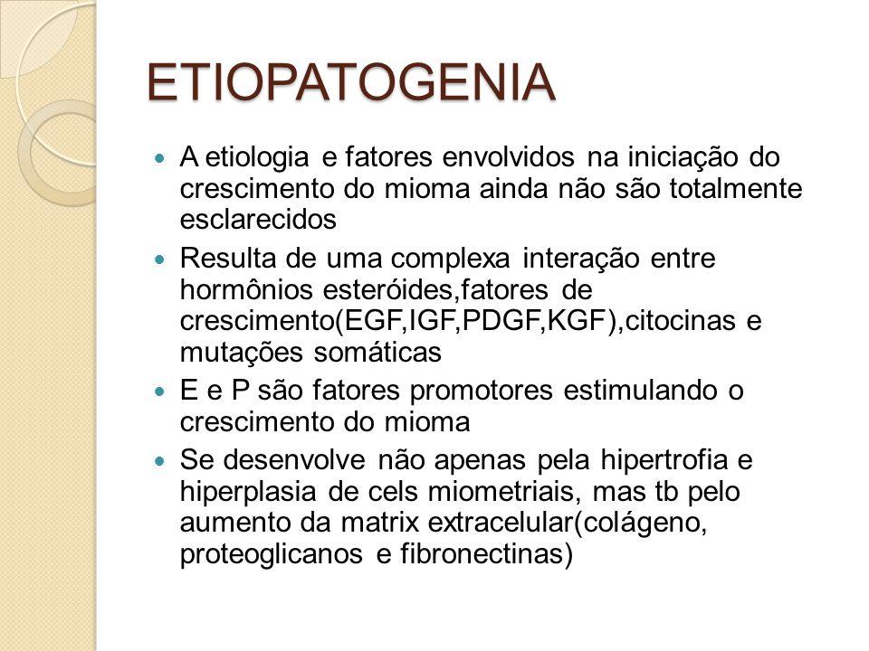 ETIOPATOGENIA A etiologia e fatores envolvidos na iniciação do crescimento do mioma ainda não são totalmente esclarecidos.