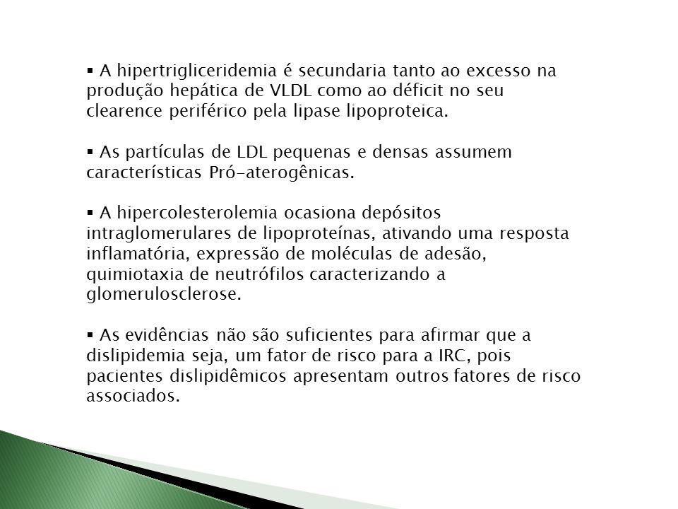 A hipertrigliceridemia é secundaria tanto ao excesso na produção hepática de VLDL como ao déficit no seu clearence periférico pela lipase lipoproteica.