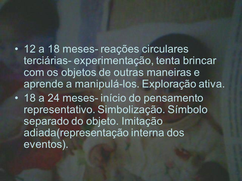 12 a 18 meses- reações circulares terciárias- experimentação, tenta brincar com os objetos de outras maneiras e aprende a manipulá-los. Exploração ativa.
